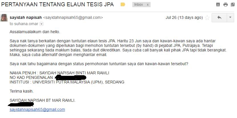 Borang claim thesis jpa