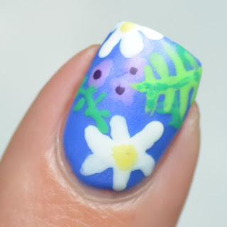 freehand floral nail art