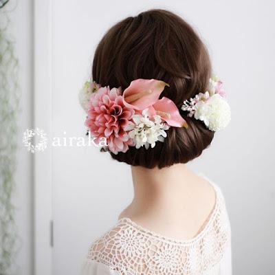 カラーとダリアの髪飾り(ピンク)_airaka
