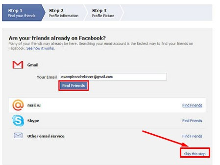 gmail new account create for facebook