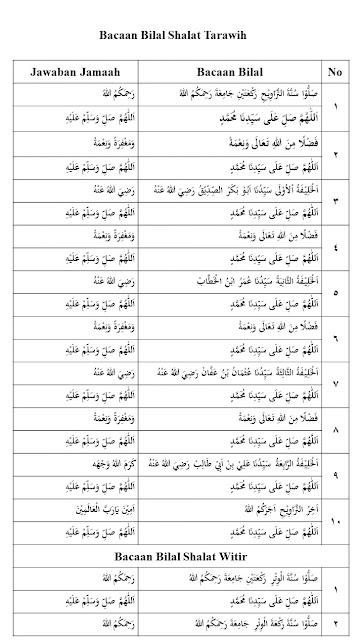 Bacaan bilal shalat tarawih 23 rakaat