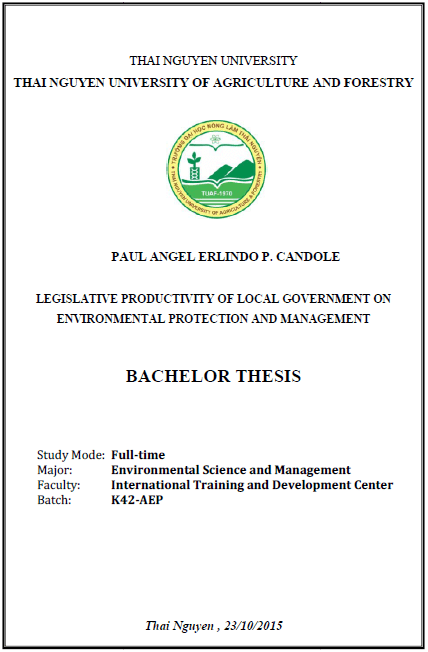 Legislative Productivity of Local Government on Environmental Protection and Management