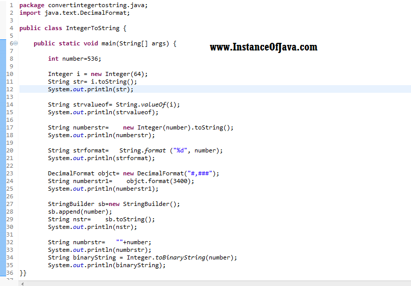 8 different ways to convert int to String in java - InstanceOfJava