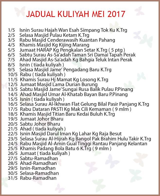 Jadual Kuliah uai bulan mei 2017