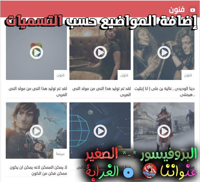 إضافة سكربت عرض المواضيع حسب التسميات للفيديوهات
