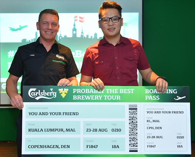 Carlsberg Malaysia's Managing Director Lars Lehman (left), and Sam Yoong Fei (right) the first Grand Prize winner of Probably the Best Brewery Tour campaign