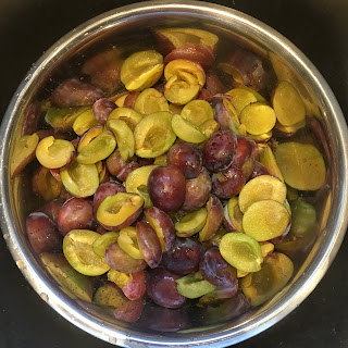 Photo halved Italian plums in a stainless steel bowl. https://trimazing.com/