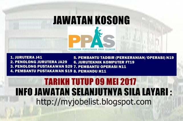 Jawatan Kosong Perbadanan Perpustakaan Awam Selangor (PPAS) Mei 2017