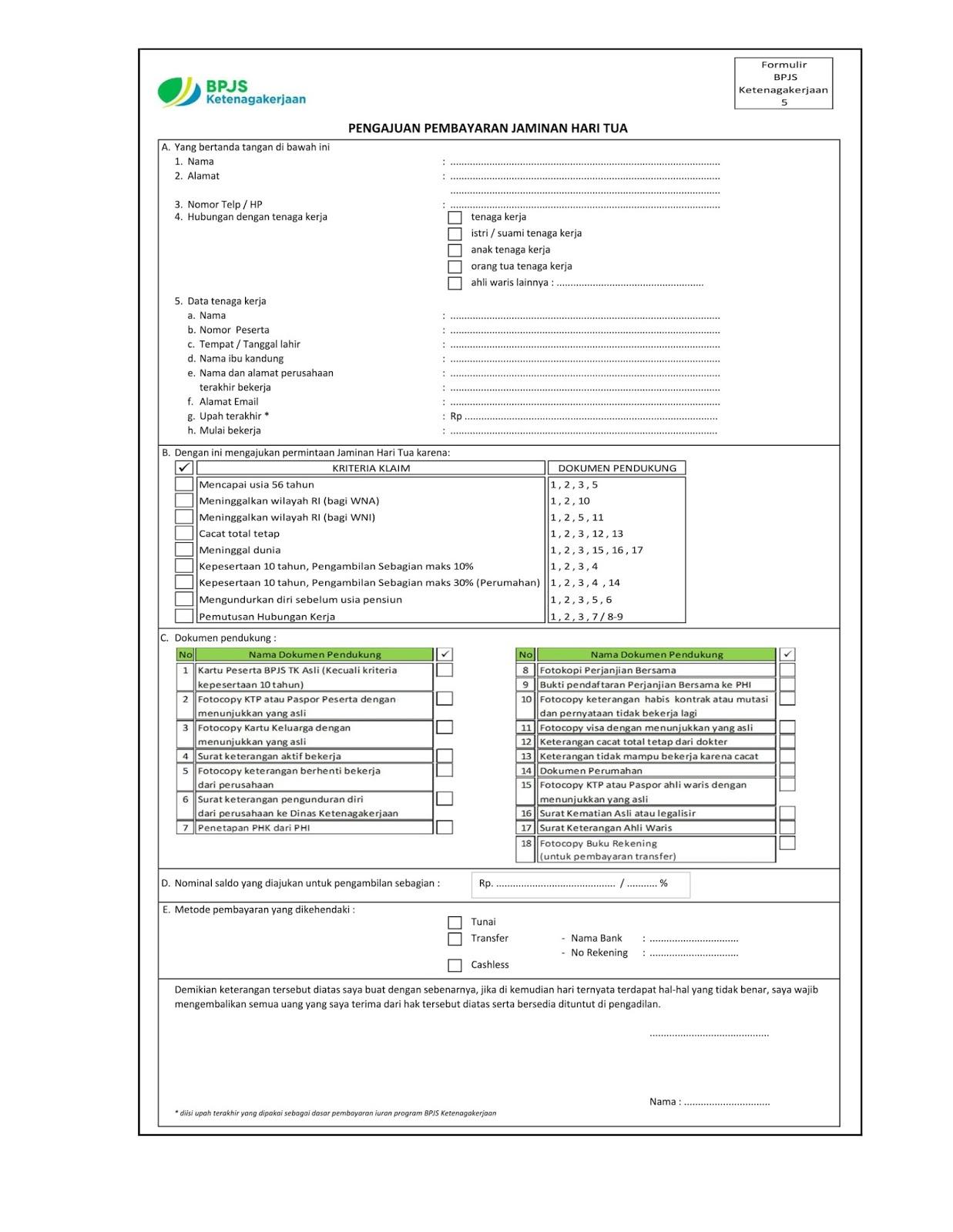 Form F5 Klaim BPJS Ketenagakerjaan