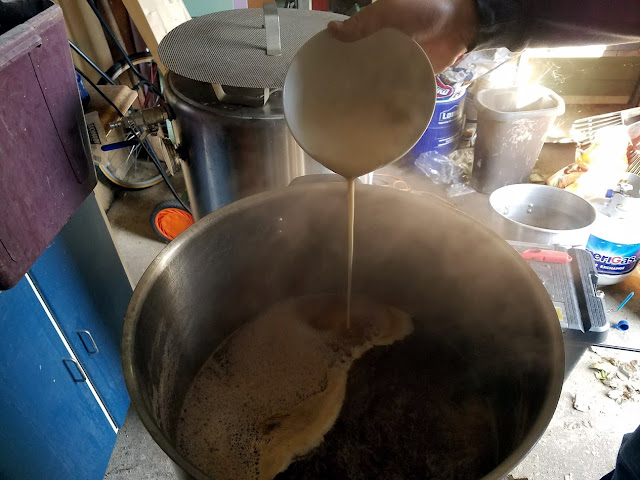 Flour slurry pouring in.