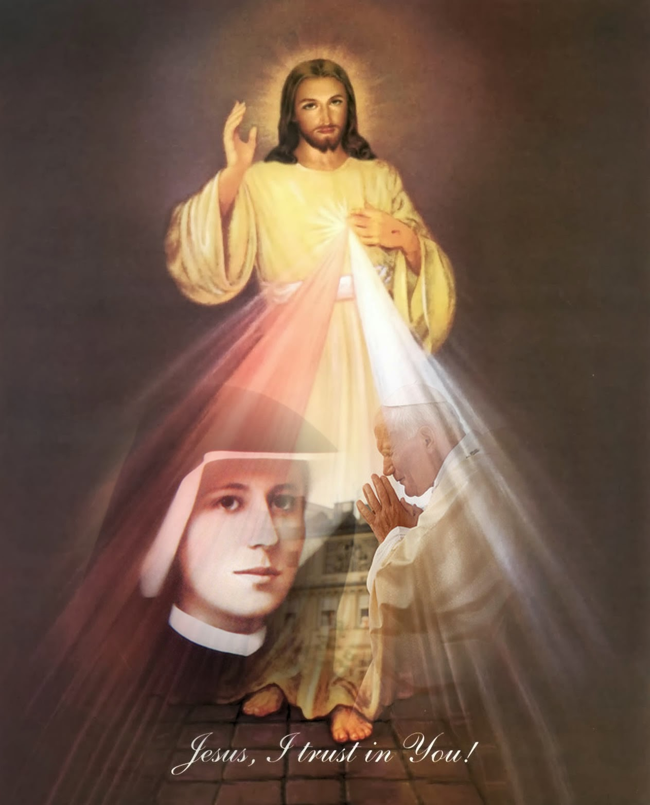 A photomontage of Divine Mercy image with St. John Paul II and Sister Faustina