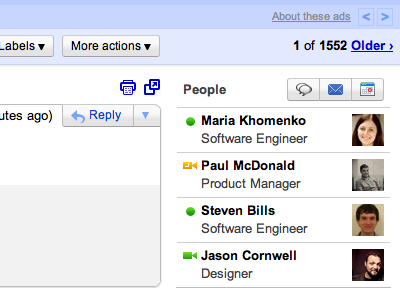 Beispiel Screenshot Google Mail Kontakte Widget