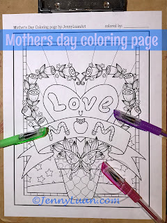 I Love You Mom Flower Butterfly Coloring Page