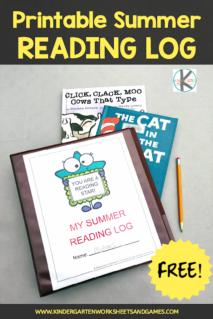 Printable-summer reading log-kindergarten