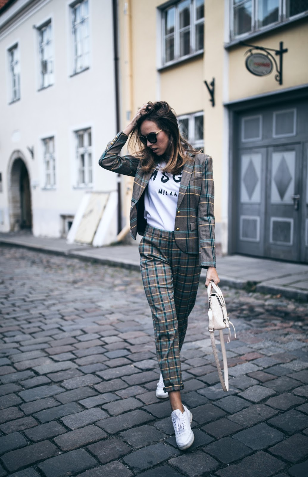 matching check print blazer pants outfit