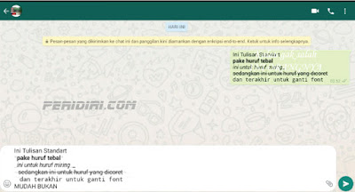 menganti karakter menjadi tebal, miring, coret dan ganti font pada WhatsApp