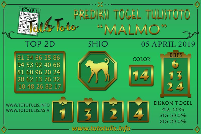 Prediksi Togel MALMO TULISTOTO 05 APRIL 2019