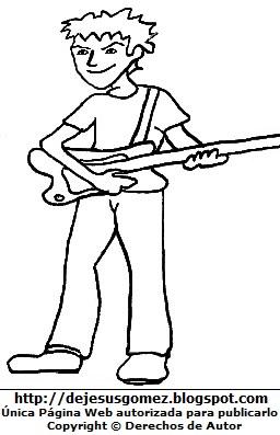 Dibujo de un Dibujo de un joven adolescente con su guitarra para colorear pintar imprimir. Dibujo de un joven de Jesus Gomez con su guitarra para colorear pintar imprimir. Dibujo de un joven de Jesus Gomez
