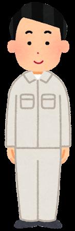 白の作業着を着た人のイラスト(男性)