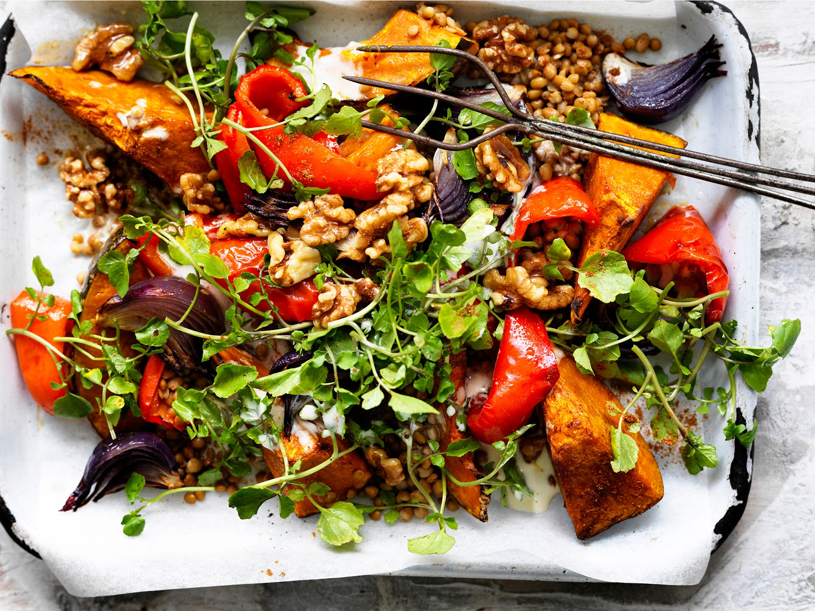 Lebanese roasted pumpkin salad in a serving dish