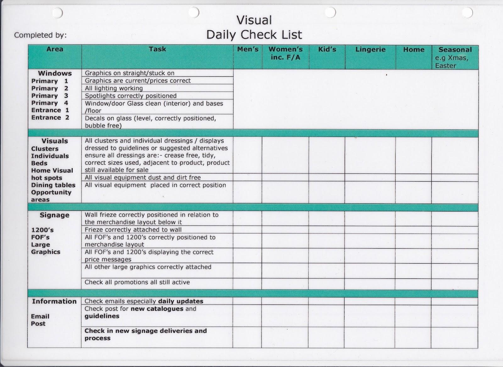Visual Merchandising 101 VM Check lists