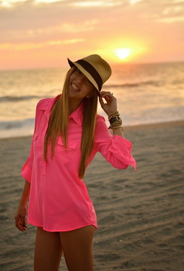 Wearing a Neon Pink Shirt as Beachwear