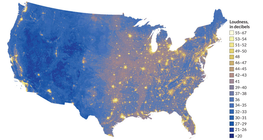 The eastern half of the U.S. is louder than the western United States.