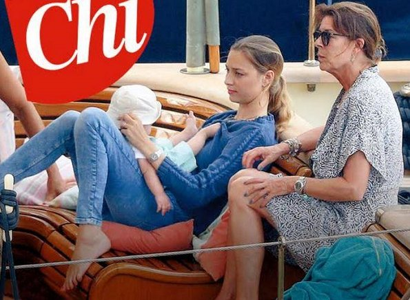 Princess Caroline, her son Pierre Casiraghi, her daughter-in-law Beatrice Borromeo and her youngest grandson Stefano Ercole Carlo