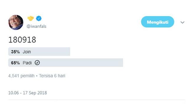 Iwan Fals Kembali Bikin Polling Capres-Cawapres 2019, Simak Siapa Pemenang Sementara