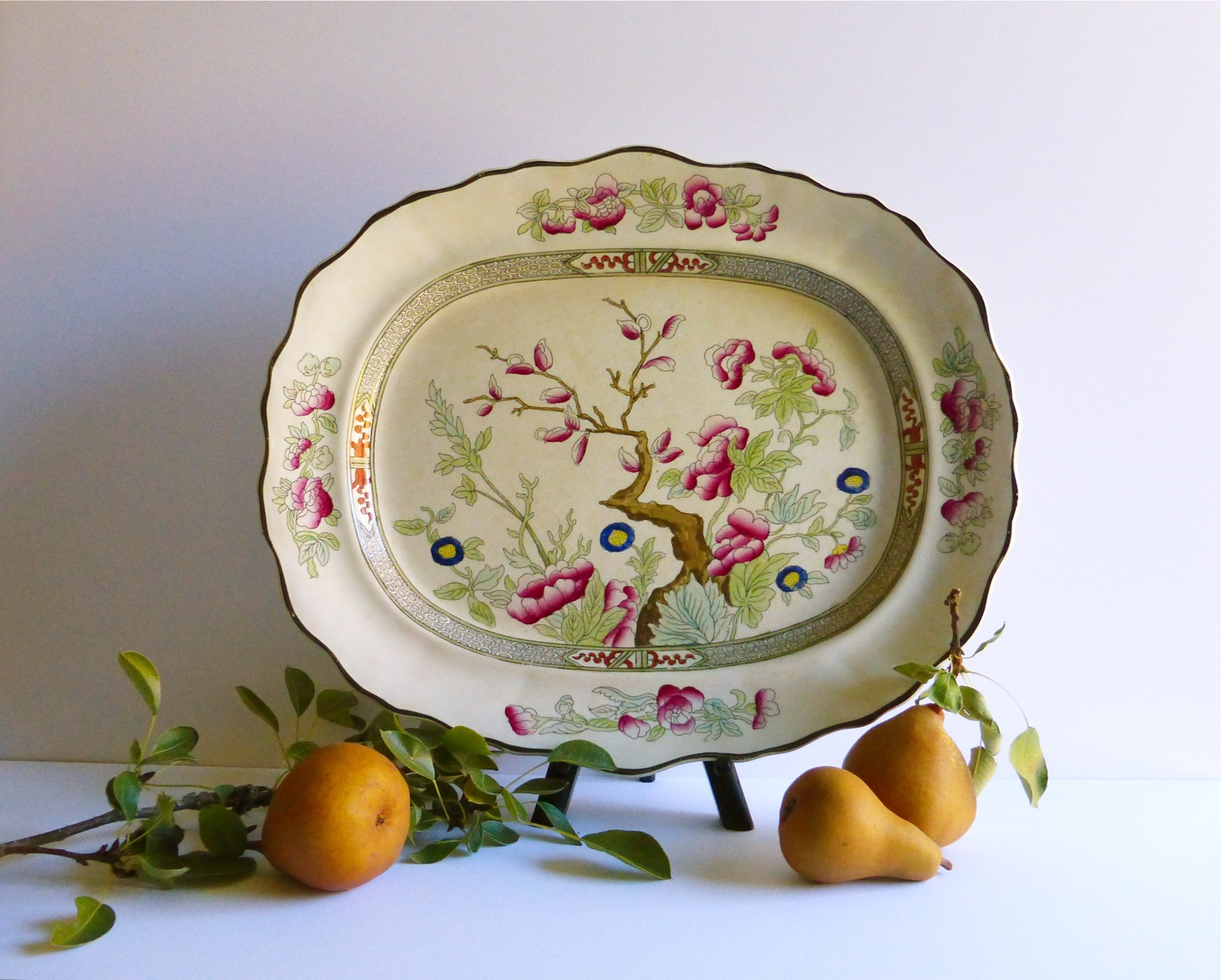 Indian Tree pattern, Burgess & Leigh Indian Tree Platter, antique pottery, chinoiserie, Chinoiserie Style, Burgess & Leigh Indian Tree antique transferware, antique transferware, decorated transferware, handpainted transferware, antique handpainted transferware, Indian Tree transferware