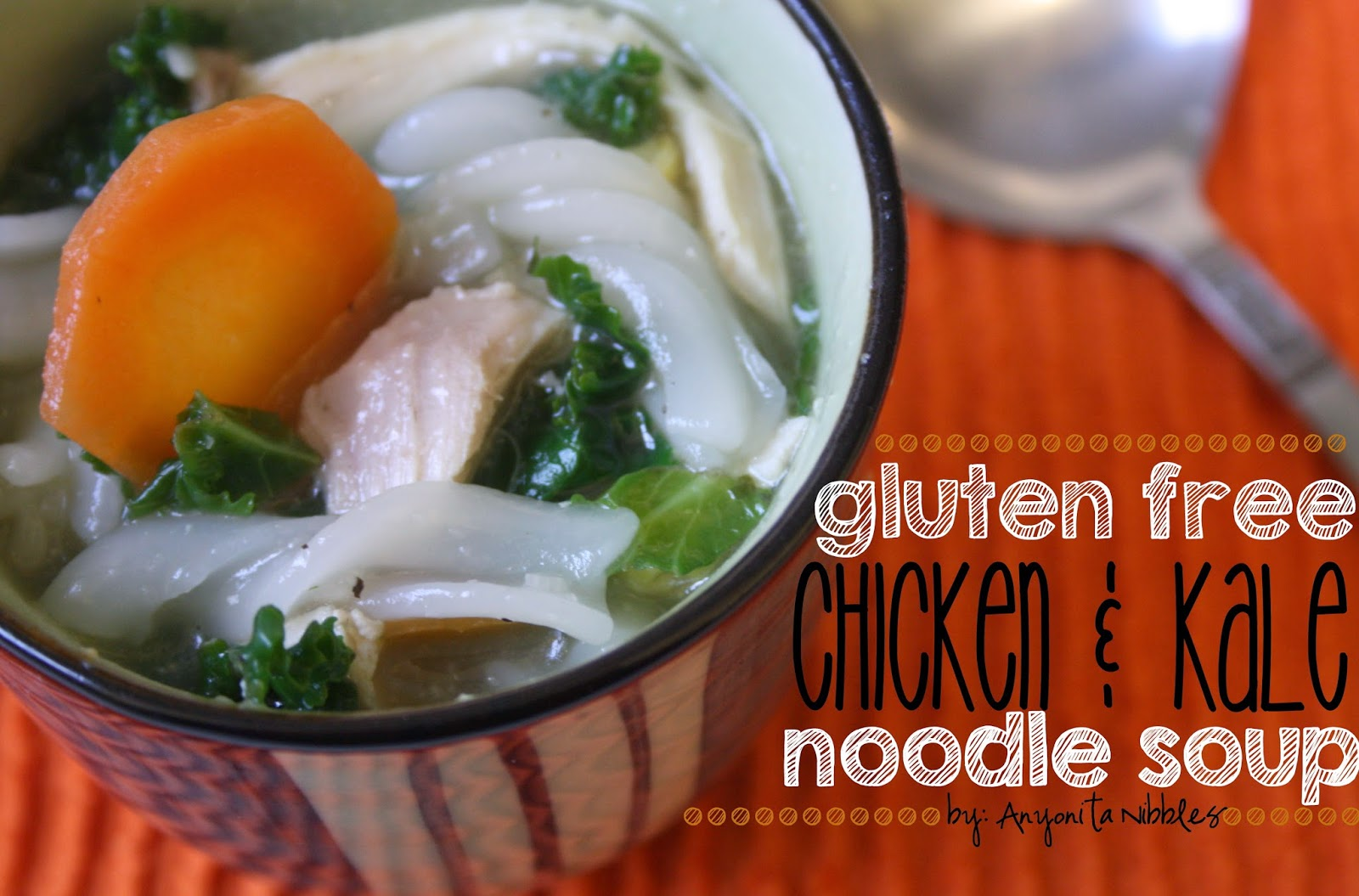 Close up of Gluten Free Chicken & Kale Noodle Soup | Anyonita Nibbles