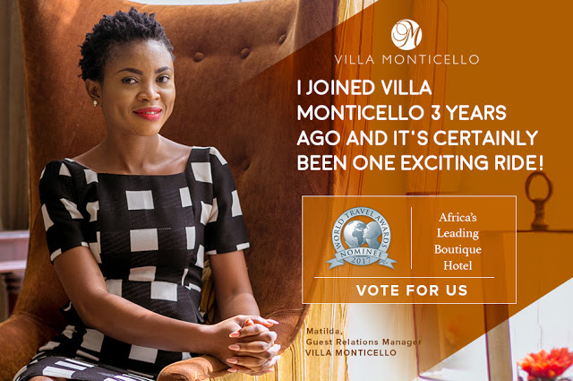 Villa Monticello Is The Only West African Hotel In The 2017 World Travel Awards - Africa's Leading Boutique Hotel Category