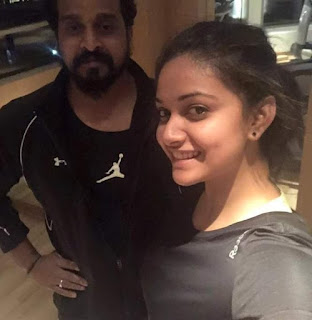 Keerthy Suresh with Cute Smile with her Fitness Trainer Latest Selfie