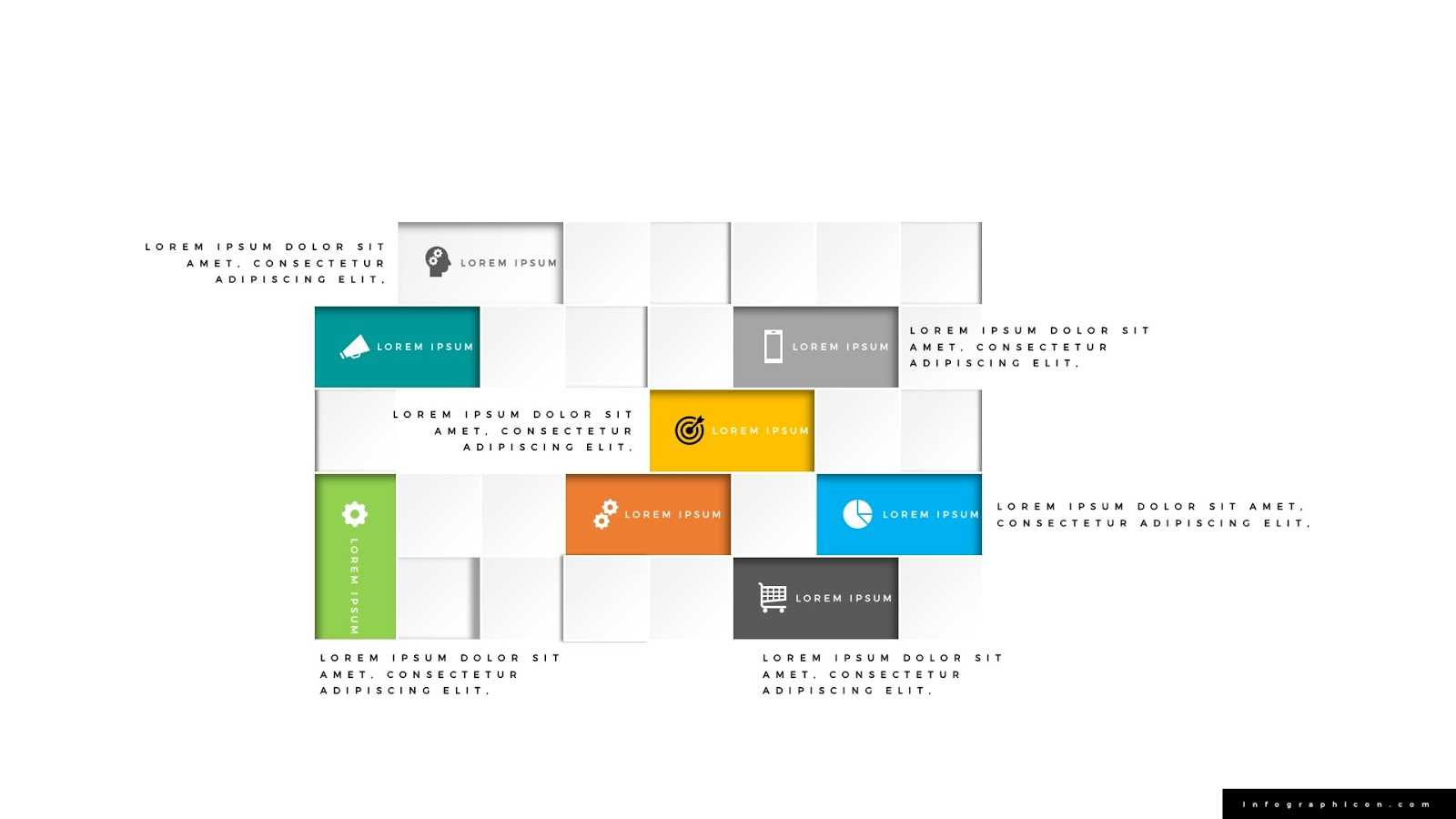 abstract square block diagram infographics infographicon. Black Bedroom Furniture Sets. Home Design Ideas