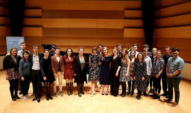 Leeds Lieder 2019's group of Young Artists celebrating with the 2019 Festival Guest of Honour, Angelika Kirchschlager, after her masterclass