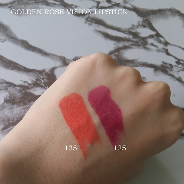 GOLDEN ROSE VISION LIPSTICK (#125 & #135) | REVIEW AND SWATCHES
