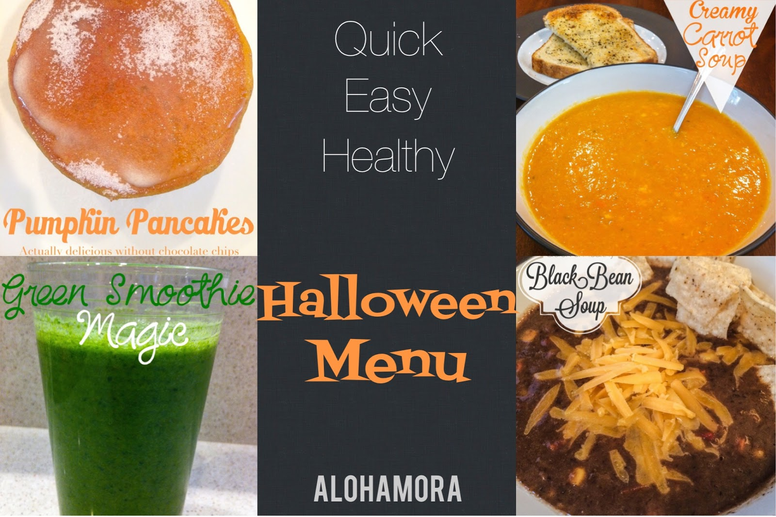 Healthy, quick, and easy Halloween breakfast and dinner recipe/menu options.  Not everything on this day needs to be about sugar.  Alohamora Open a Book http://alohamoraopenabook.blogspot.com/