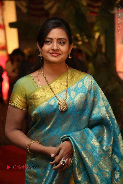 Actress Indraja Stills in Blue Silk Saree at Shatamanam Bhavathi Audio Launch  0010.JPG