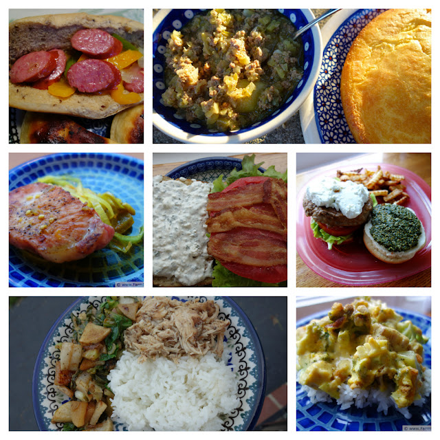 collage of dinner dishes incorporating fruits and vegetables