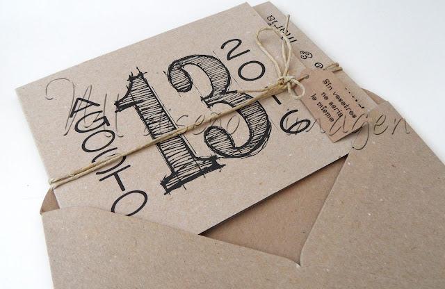 Invitaciones de boda craft M+A