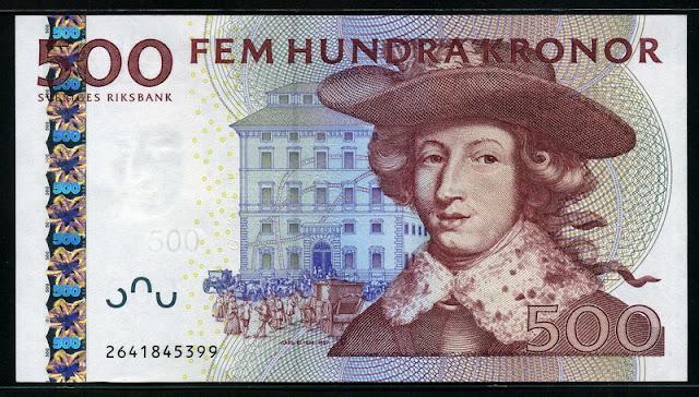 Sweden Currency 500 Swedish Kronor Krona banknote