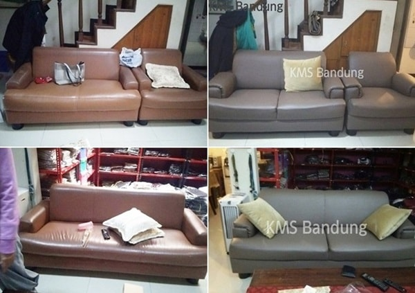 sebelum dan sesudah pengerjaan sofa