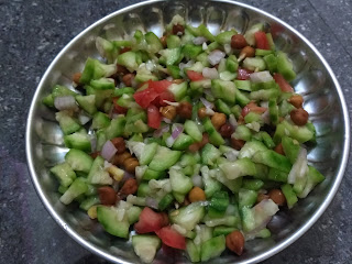 Ridge gourd, Chickpea sprouts, Tomato, Onion, Ginger