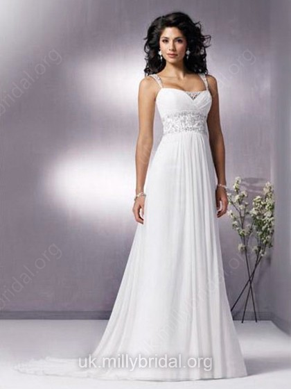A-line Straps Chiffon Sweep Train Beading Wedding Dresses