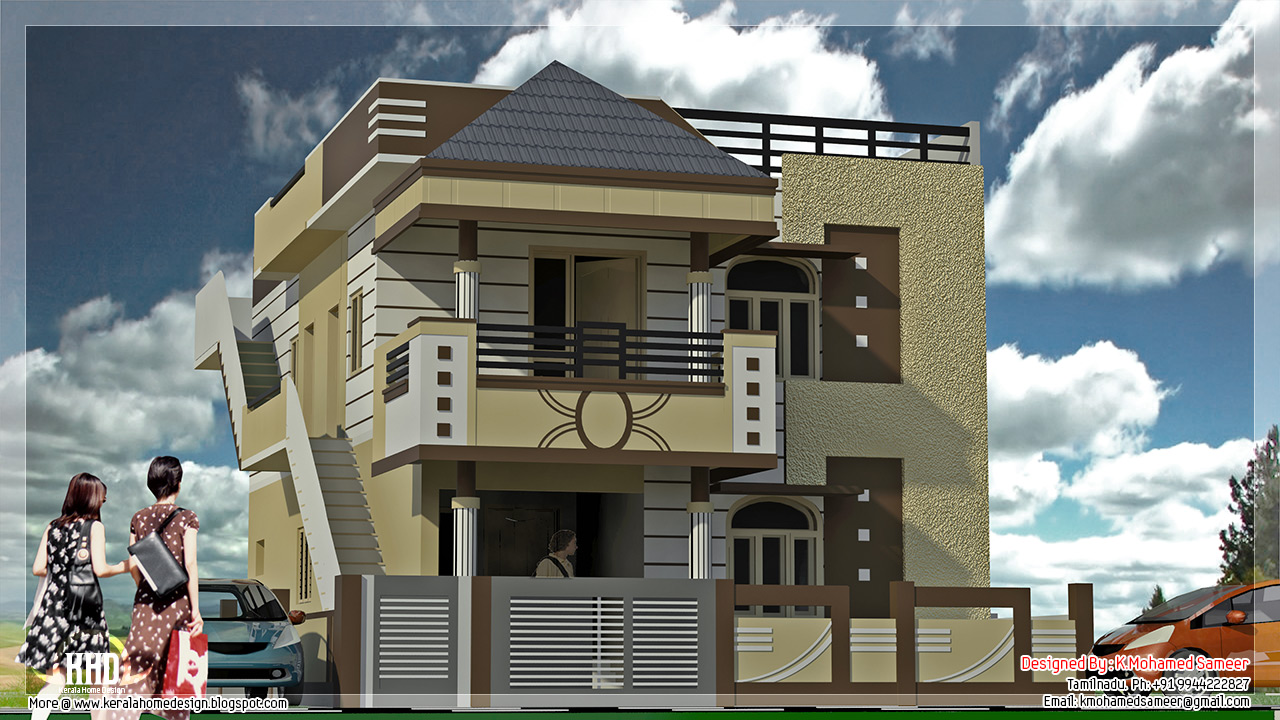Tamilnadu style minimalist house design kerala home for Indian home outer design