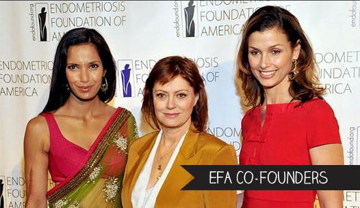 Endometriosis Foundation of America founders: Padma Lakshmi and Susan Sarandon with Bridget Moynahan