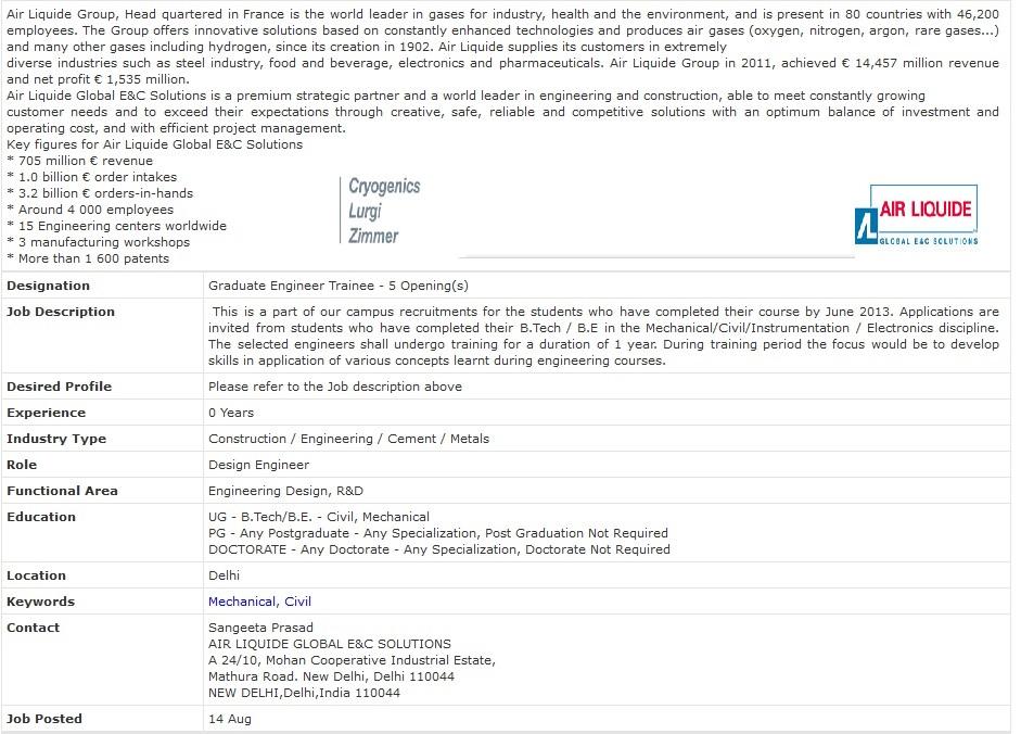 Air Liquide Recruitment of Graduate Engineering Trainees
