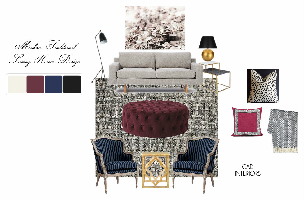 transitional e-design online interior design mood board