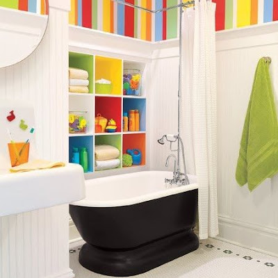 white kids bathroom ideas with colorful furniture and accessories