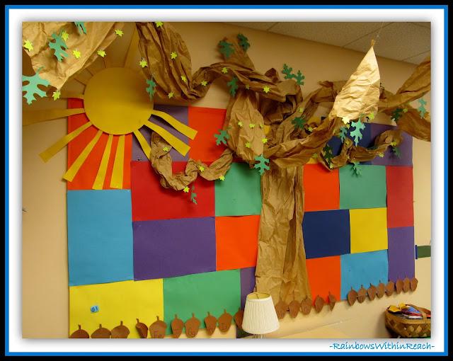 Preschool Bulletin Board (Classroom Decor RoundUP at RainbowsWithinReach)